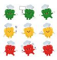 set cute bell pepper chef cartoon characters vector image vector image