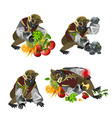 set fantasy zombie monkey isolated on white vector image vector image