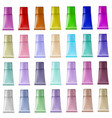 set of plastic tubes of different colors for vector image vector image