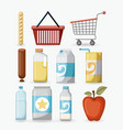 supermarket icons collection color graphics vector image