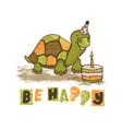 turtle cartoon circus tropical animal hand drawn v vector image vector image