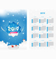 two-sided calendar for the new year 2019 with gift vector image vector image
