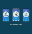 veterinary mobile screens set vector image vector image