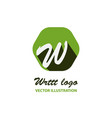 w letter color logo with dot and shadow vector image vector image