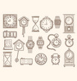 watches set drawing clocks timers alarms vector image vector image
