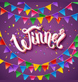 winner announcement stationery on purple vector image vector image