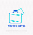 wrapping service for luggage thin line icon vector image vector image