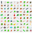 100 plants and animals icons set isometric style vector image vector image