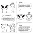 3 steps make-up monochrome instruction girl and vector image vector image