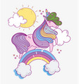 adorable unicorn on rainbow dream fantasy magic vector image vector image