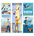 architect wallpapering window installer banner vector image vector image