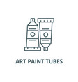 art paint tubes line icon art paint tubes vector image vector image