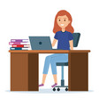 beautiful and young woman in the workplace vector image