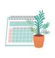 Calendar reminder and house plant pot isolated