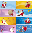 Cartoon Greeting Cards with Santa Clauses vector image vector image