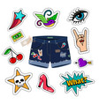 chic denim shorts with patch set vector image vector image