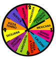 Clock with different pizza names vector image