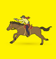 cowboy riding horseaiming gun graphic vector image vector image