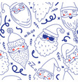 Cute santa clauses seamless pattern