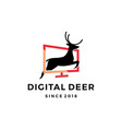 digital deer jumping logo design inspirations vector image vector image