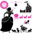 Fairytale Set - silhouettes of Cinderella vector image vector image