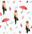 flat concept woman with umbrella vector image