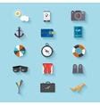 Flat design icons Set of traveling on airplane vector image