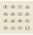 Generic cloud computing iconset contour flat vector image