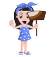 girl with dust pan on white background vector image vector image