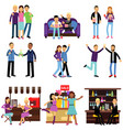 groups of girls and boys best friends having good vector image vector image