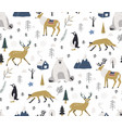 hand drawn scandinavian animals in forest vector image vector image