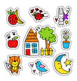 hand drawn summer stickers vector image