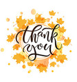 Hand drawn Thank you lettering typography poster vector image vector image