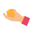 hand holding pile coins money concept vector image vector image
