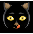 head of a black cat with yellow eyes on a black b vector image