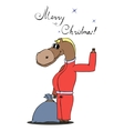 horse with a bag of gifts vector image vector image