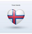 Love Faroe Islands symbol Heart flag icon vector image vector image
