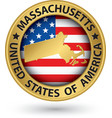 Massachusetts state gold label with state map vector image