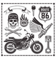 motorcycle and attributes of bikers elements vector image