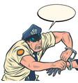 policeman puts handcuffs arrest vector image