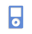portable music device neon blue icon with vector image