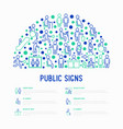 public signs concept in half circle thin line icon vector image vector image