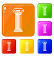 roman column icons set color vector image vector image