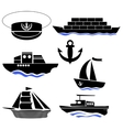 Sea Ships Silhouettes Anchor Icon Captain Hat vector image vector image
