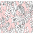 seamless monochrome floral pattern with hand drawn vector image vector image