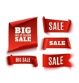 set five red realistic sale paper banners vector image