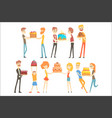set of happy and loving people celebrating vector image vector image