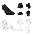 skirt with folds leather gloves women hat with a vector image vector image