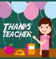 thanks teacher girl apple book balloons vector image