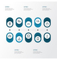 transport icons line style set with autobus vector image
